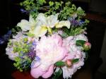 Peony, Iris, Bachelor Button, Lady's Mantle
